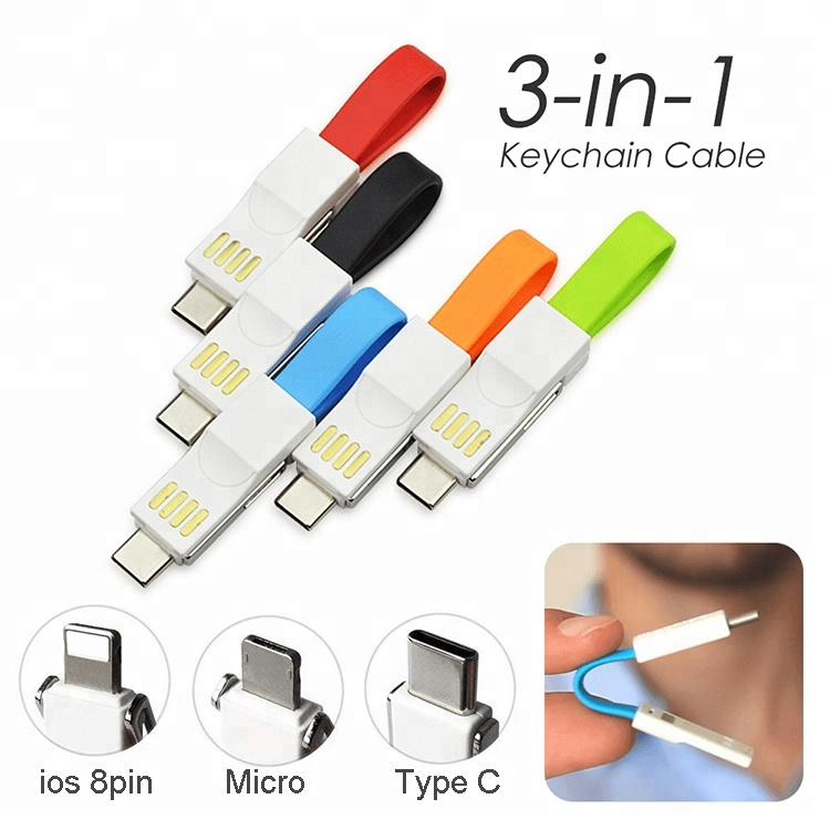 Portable 3in1 magnetic charging cable with keychain for IOS for Android for Type C device