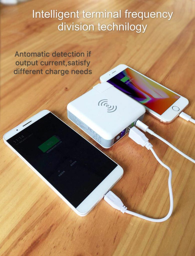 travel usb AC charger Qi wireless power bank
