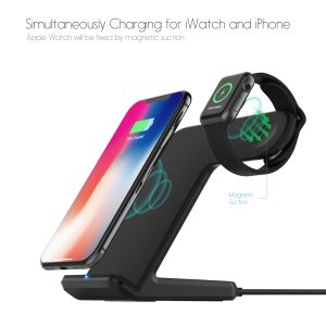 Fast 2in1 Qi Wireless Charger Dock for iPhone and watch