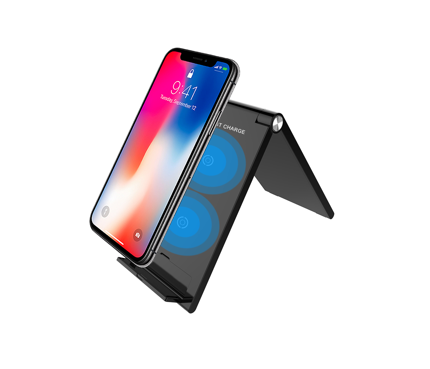 Quick Charge Qi Foldable Wireless Charger 10W Folding Desktop Wireless Charging Pad for iPhone X/XS 8 Samsung Note 9/8 S9/S8/S7     Compatibility:  1.Supports fast wireless charging phone models:  * for Sumsung Galaxy S6 / S6 Edge / S6 Edge Plus / S7 / S7 Edge / S8 / S8 Plus / S9 / S9 Plus / Note 5 / Note 8,etc     2.Supports wireless charging phone models:  * for iPhone 8 / 8 plus / x / xs / xs max /xr  * for Nokia / LG /Google / HTC / Sharp / Motorola / ZTE some models.     3.Other devices please buy a wireless charging receiver separately.  Note: If you need fast charging function , we recommend using 5V/2A or 9V/1.67A adapter at least.        Product nameFoldable Wireless charger stand Output Power5w--7.5W Special Featureswireless stand multi-function Voltage5V 2A,9v 1.67A Weight112g SuitableiPhone Xs/Xr/Xs Max, for Samsung for Galaxy S9/S9+ such smart devices.for iwatach/for airpod Function 1 Fast charger Function 2QI Wireless stand Function 3office table pad and stand