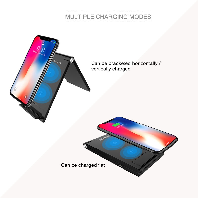 Quick Charge Qi Foldable Wireless Charger 10W Folding Desktop Wireless Charging Pad for iPhone X/XS 8 Samsung Note 9/8 S9/S8/S7     Compatibility:  1.Supports fast wireless charging phone models:  * for Sumsung Galaxy S6 / S6 Edge / S6 Edge Plus / S7 / S7 Edge / S8 / S8 Plus / S9 / S9 Plus / Note 5 / Note 8,etc     2.Supports wireless charging phone models:  * for iPhone 8 / 8 plus / x / xs / xs max /xr  * for Nokia / LG /Google / HTC / Sharp / Motorola / ZTE some models.     3.Other devices please buy a wireless charging receiver separately.  Note: If you need fast charging function , we recommend using 5V/2A or 9V/1.67A adapter at least.        Product name	Foldable Wireless charger stand Output Power	5w--7.5W Special Features	wireless stand multi-function Voltage	5V 2A,9v 1.67A Weight	112g Suitable	iPhone Xs/Xr/Xs Max, for Samsung for Galaxy S9/S9+ such smart devices.for iwatach/for airpod Function 1	 Fast charger Function 2	QI Wireless stand Function 3	office table pad and stand
