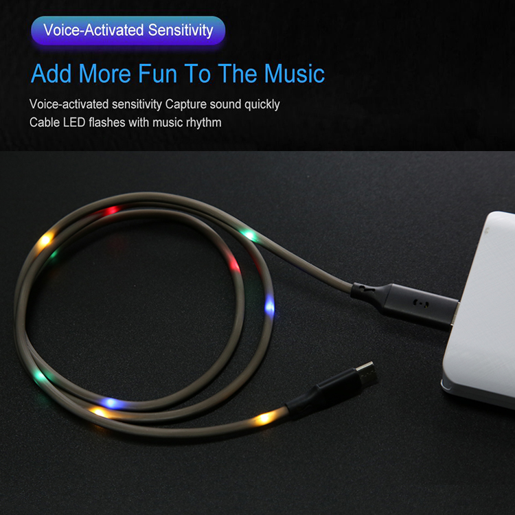 Colorful LED light Smart Voice Control Fast Charging Data USB Cable