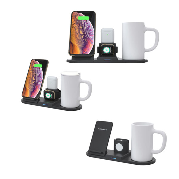 4 in 1 Travel Mug with QI Fast Charger/Wireless Charging Station Wireless Charger Mug Heating Cup Warmer Constant Temperature