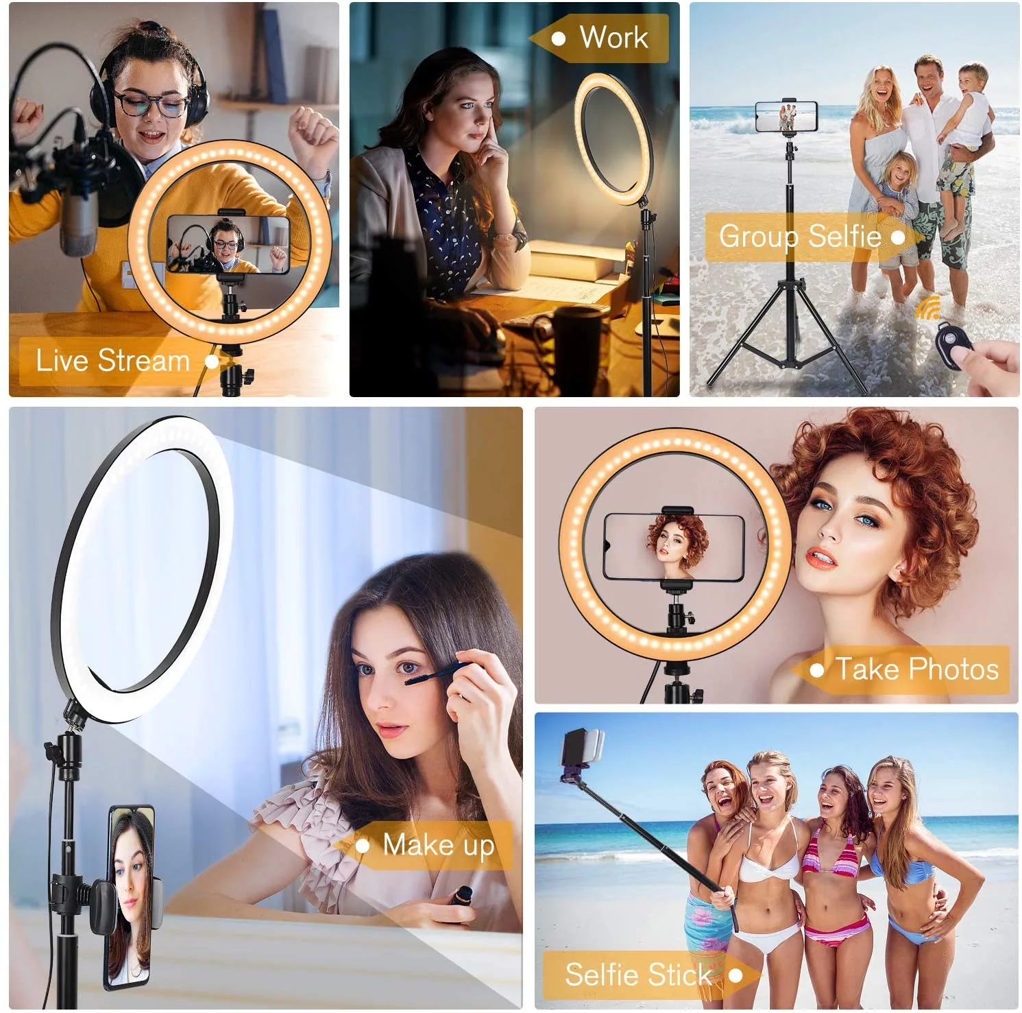 "Wholesale 10"" selfie ring light tripod for photography youtube video live stream makeup with cell phone holder"