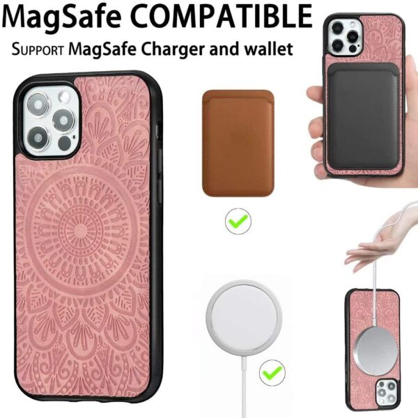 Wholesale Magsafing Magnetic Card Holder Wallet Leather TPU Phone Case For Iphone 12/iphone 12 Pro/iphone 12 Pro Max Magnetic Cover Support Magsafe Charger and Wallet Embossed Mandala Flower