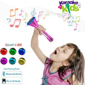 Kids Karaoke Microphone for Children, Kids Microphone with Bluetooth Speaker, Wireless Karaoke Microphone, Karaoke Singing Machine Toy for Adult Home Party Music Singing Playing, Christmas Birthday Gifts for Girl Toys
