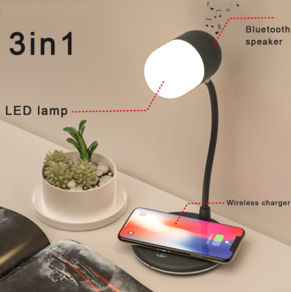 3 in 1 Multifunctional LED Touch Desk Lamp with 10W Wireless Charger, Foldable, Bluetooth Speaker, Eye-Caring Table Lamp, 3 Lighting Modes, Dimming Desk Light for Office, Bedroom, Study From GCC
